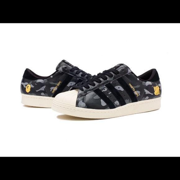 0728e1017 Undefeated x Bape x Adidas Superstar 80v Black