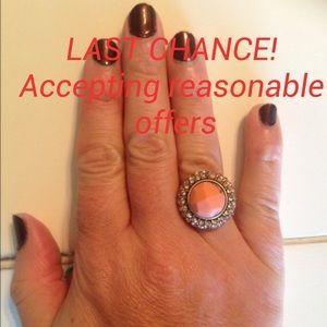 Chloe + Isabel Jewelry - SEMI PRECIOUS CORAL RETRO COCKTAIL RING