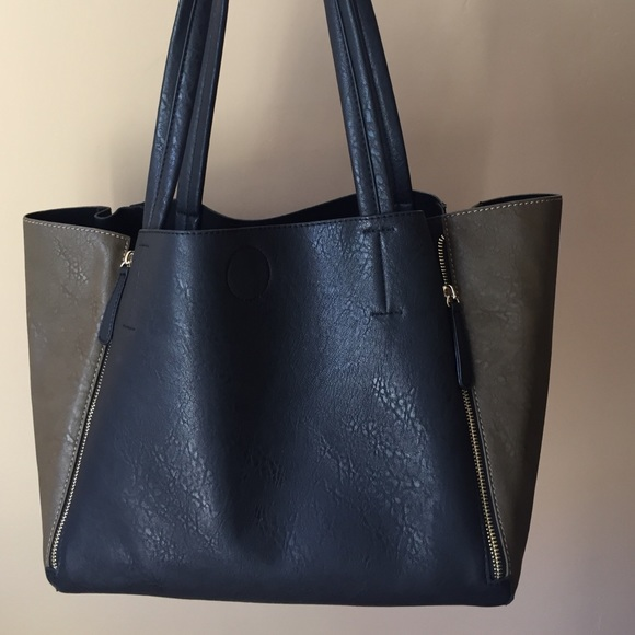 Unbranded - Faux Leather Tote Olive Green and Black zippers from ...