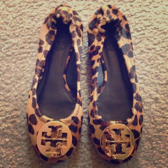 RARE Tory Burch Reva Flats leopard calf hair
