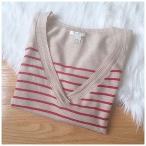 Club Monaco Sweaters - CLUB MONACO | Striped V-Neck Sweater