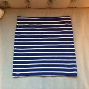 Blue and White Stripes Pencil Skirt