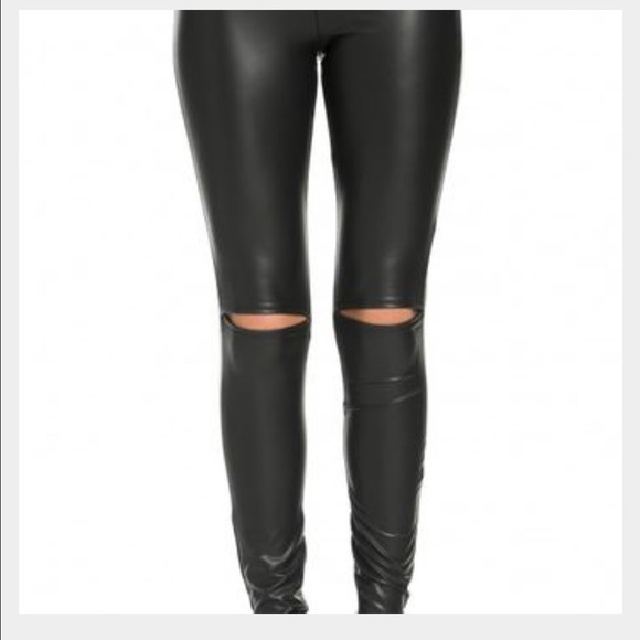 3d178939db765 Pants | Leather Look Knee Cut Out Leggings | Poshmark