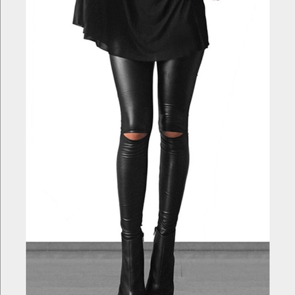 Leather look knee cut out leggings! 😍😍😍 S from Fabnchic's ...
