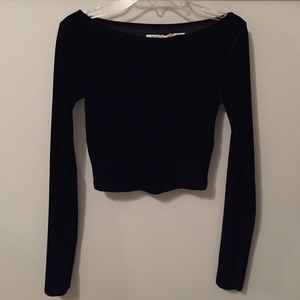 Black Velvet Boat Neck Crop Top