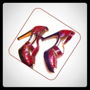 Alexandre Birman Shoes - ALEXANDRE BIRMAN Python Cutout Platform Heels