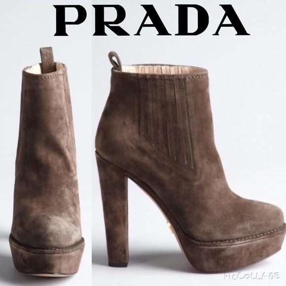 Prada Suede Platform Booties