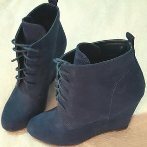 b764150430e Forever 21 Shoes - Navy Blue Suede Wedge Booties