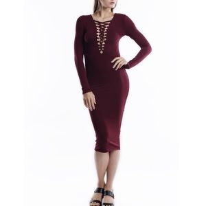 "X ""Phantom Kiss"" Lace Up Front Midi Dress"