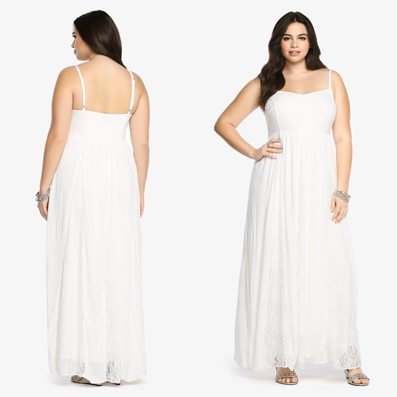 torrid - Stunning Torrid Lace & Gauze Maxi Dress Plus Size from ...