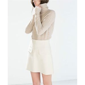 Host pick Zara beige A-line skirt
