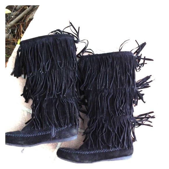 72% off Hot Cakes Shoes - Black Suede Fringe Knee High Boots from ...