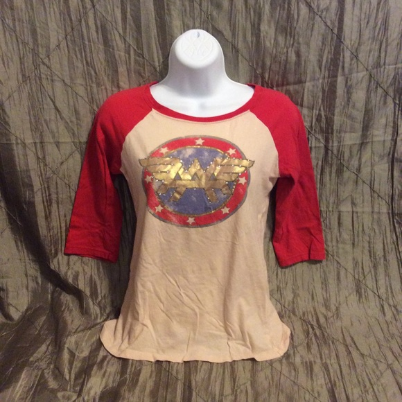 2854a95e0 Forever 21 Tops | Wonder Woman Baseball Tee With Rhinestones Medium ...