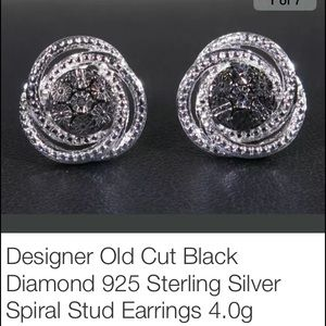 Estate Jewelry - Spiral Designer Black and White Diamond. 925.