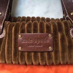kate spade Bags - Kate Spade orange puffer bag w/brown velour trim.