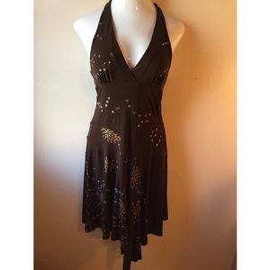 A. Byer Dresses & Skirts - Brown halter dress w/ floral glitter