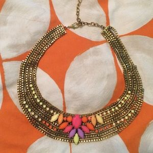 Gold and neon statement necklace.