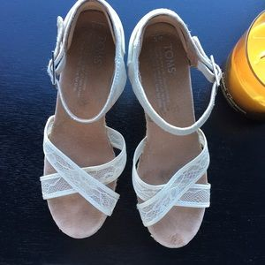 Toms White Lace Wedges