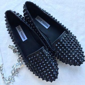 Sparkle Black Studded Steve Madden Flats