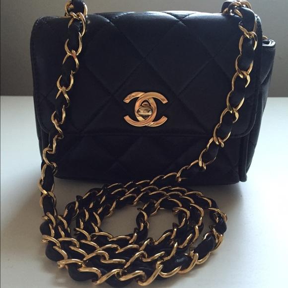 6d2ae2016024 CHANEL Handbags - Vintage authentic Mini Chanel flap bag lamb skin