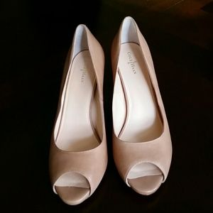 Cole Haan Beige Peep Toe Pumps