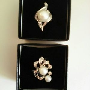 Jewelry - DROP! 2 faux pearl silver adjustable rings w/boxes