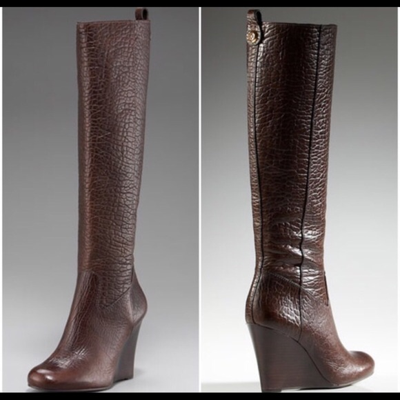 80ef35e1a41 Tory Burch Dabney wedge tall boots in brown. M 564f87309818293fbe002bec