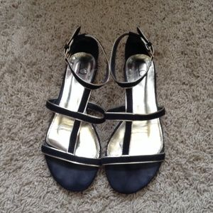 Bakers Shoes - Black and gold flat sandals