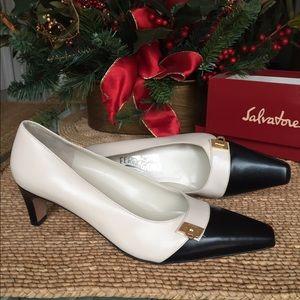 Ferragamo Shoes - NWOT..FERRAGAMO beige body, black toe.