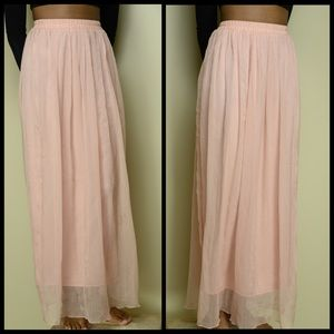 F21 Light Pink Layered Maxi Skirt