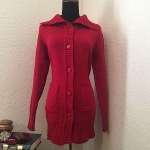 Red Cardigan Sweater