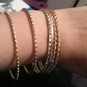 6 gold tone bangle bracelets
