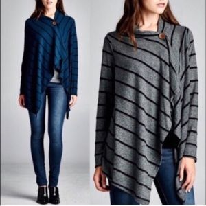ORALEE striped button cardigan -CHARCOAL