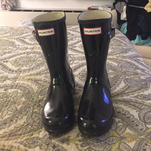 36% off Hunter Shoes - Hunter Short Black Glossy Rain Boots size 5 ...