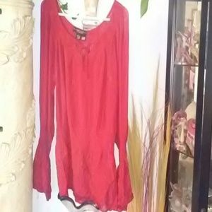 Red top with long sleeve