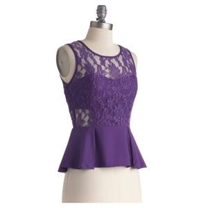 ModCloth | 'I Light the Nightlife' Peplum Lace Top