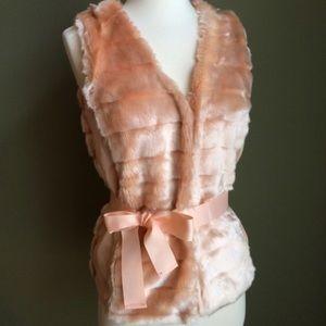 Faux fur peachy pink vest 