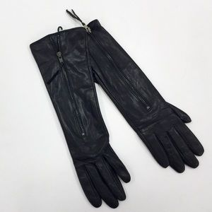 Warmen Accessories - Long Black Elbow Leather Gloves with Zipper Detail