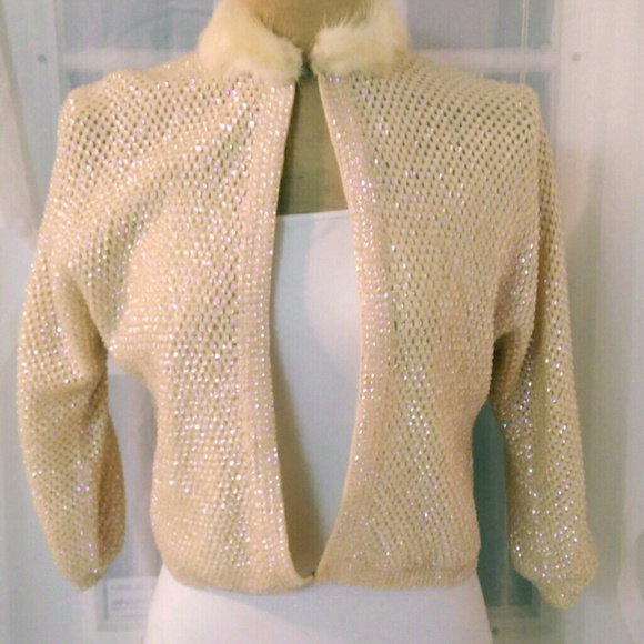 b5ed18bb0b2 Vintage AB Crystal Beaded 1950s Pin-Up Cardigan. M 564fea47bcd4a72e010062bb