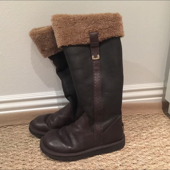 77 Off Ugg Shoes Ugg Classic Tall Brown Leather Boots