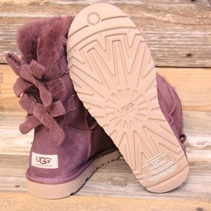 UGG Bailey Bow Corduroy Port Sheepskin Boots US 7
