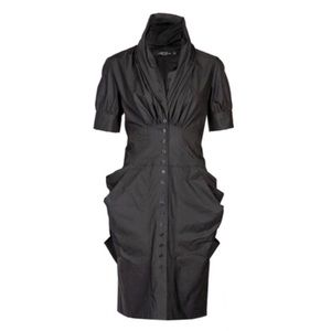 All Saints Black Kitty Shirt Dress Sculptural 4 S