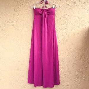 Strapless fuchsia pink maxi dress