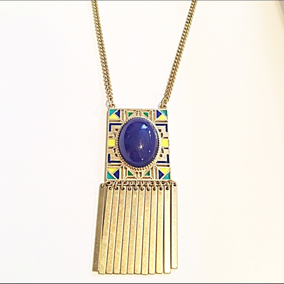 Kitsy Lane Jewelry - 📿Gold Tone Blue/Yellow/Green Tribal Necklace