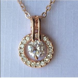 Rose Gold Tone Haloed Solitaire Necklace