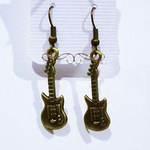 Retro guitar earrings