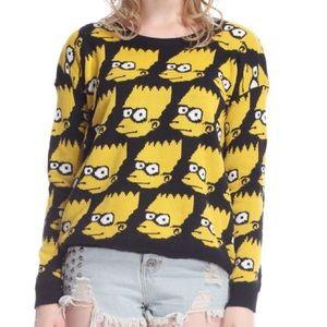 Jeremy Scott Sweaters - ROMWE Bart Simpson Print Sweater