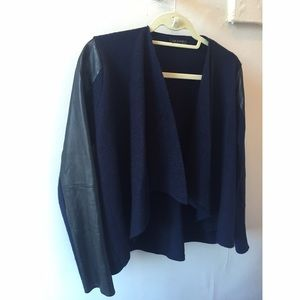 Ted Baker Wool Navy Jacket w/ Faux Leather Panels