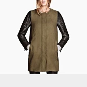 H&M Jackets & Blazers - REDUCED Faux Leather Quilted Sleeve Olive Coat