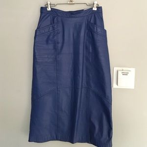 Vintage cobalt blue 100% Leathers Skirt